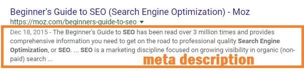 توضیحات سئو meta description